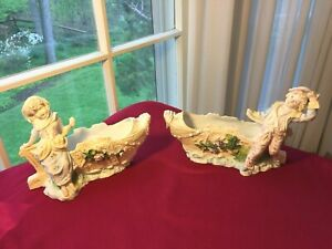 Antique German Pair Of Bisque Porcelain Girl Boy Each In Boat