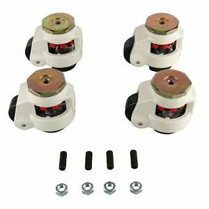 New Gd 80s Set Of 4 Leveling Casters 1102lbs per Stem Mounted Leveling Caster