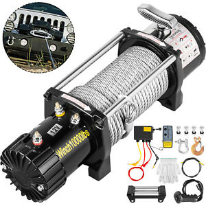10000lbs Electric Winch 98 5feet Steel Rope 4wd Waterproof Truck Towing Off Road