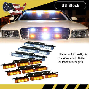 White Amber 54 Led Yellow Emergency Warning Strobe Light Bar Deck Dash Grill