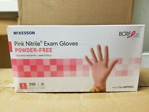 Mckesson Pink Nitrile Exam Glove Powder Free Size Small 250 Per Box 14 6npnk