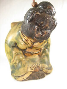 Antique Japanese Tanuki Mythical Badger Dog Shigaraki Hand Made Ceramic Statue
