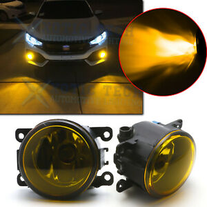 Golden Yellow Fog Lights W H11 Bulbs Driver Passanger For Honda Civic Accord