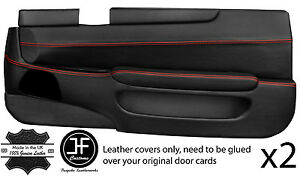 Red Stitch 2x Full Door Card Leather Covers Fits Toyota Lexus Soarer Sc 300