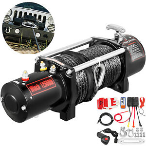 12500lb Electric Winch 12v Synthetic Cable Off Road Atv Utv Truck Towing Trailer