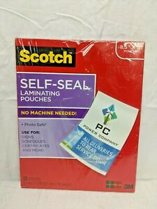 Scotch Self seal Laminating Pouches No Machine Needed 8 5 x11 25ct