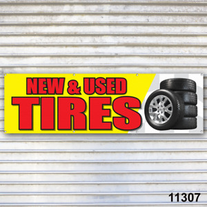 New Used Tires Banner Sign Auto Truck Repair Tires Wheels Tire Dealer