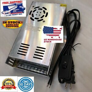 12v Dc 30a Power Supply 360w Wired Wall Plug With On Off Switch Usa Seller