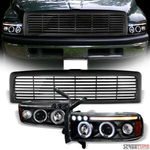 For 94 02 Ram Black Halo Led Projector Headlights Signal Am Awhorizontal Grille Fits 2001 Dodge Ram 1500 Sport
