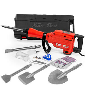 Hd Electric Demolition Jack Hammer Concrete Breaker 2200watt Full Set Bits