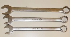Wright Combination Wrench Lot Of 3 Large 1 1 16 1 1 8 1 1 4 1134 1136 1140