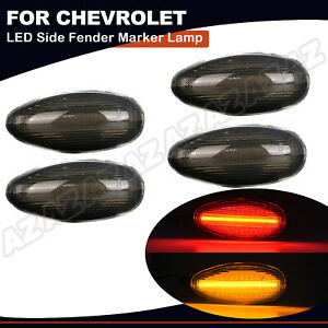 4pcs Smoked Led Side Marker Light For Chevrolet Silverado 2500 3500 Gmc Sierra
