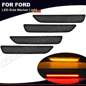 For Ford Mustang 2010 2014 Front Rear Led Side Marker Light Lamp Smoked 4pcs