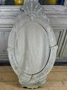 Antique Venetian Mirror Oval With Crest 27 X 48