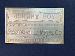 New Associated Johnny Boy Brass Data Tag Antique Gas Engine Hit Miss