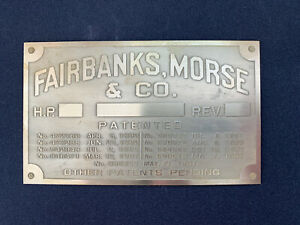 New Fairbanks Morse For h Engine Brass Data Tag Antique Gas Engine Hit Miss