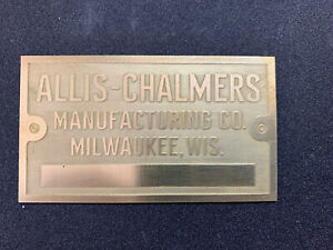 New Allis Chalmers Brass Tag Antique Tractor Gas Engine Hit Miss