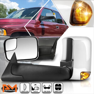 For 94 97 Dodge Ram 1500 3500 Power Chrome Side Towing Mirror W Smoked Led Lamp