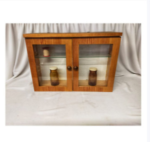 Retro Pharmacy Medicine First Aid Cabinet Vintage Wall Hanging Kitchen Cupboard