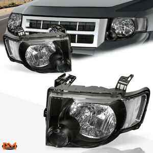For 08 12 Ford Escape Suv Headlight lamp Oe Replacement Black Housing Clear Side