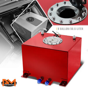 8 Gallon Lightweight Aluminum Red Fuel Cell Gas Tank Level Sender Polished Cap