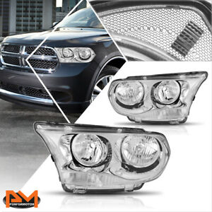 For 11 13 Dodge Durango Direct Replacement Headlight lamps Clear Corner Chrome