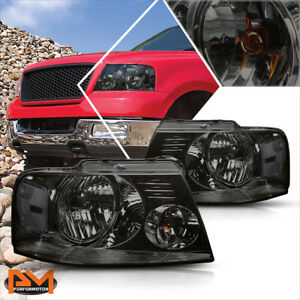 For 04 08 Ford F150 Pickup Smoked Housing Headlight Clear Side Corner Lamps Pair
