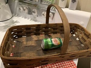 Old Market Gathering Basket Oak Splint Slat Primitive Farmhouse Decor 20 3 4