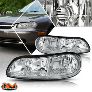 For 97 03 Chevy Malibu Chrome Housing Clear Side Headlight Lamp Replacement Pair