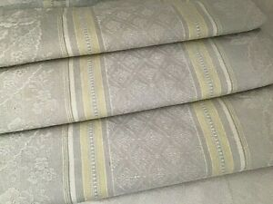 Antique Vintage French Grey Floral Damask Linen Yellow Green Stripe Ticking