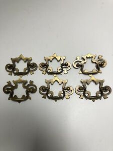 Vtg 6 Chippendale Style Antique Brass Drawer Pulls 2 5 Inch Centers