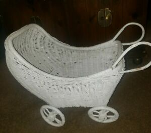 Vintage White Wicker Hooded Doll Buggy Stroller Baby Carrier