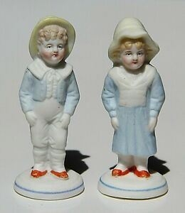 Vintage Bisque Victorian Boy Girl Pair Couple Lot Figurines German