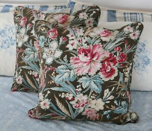 Pair Antique Vintage French Block Printed Cotton And Linen Fabric Pillows