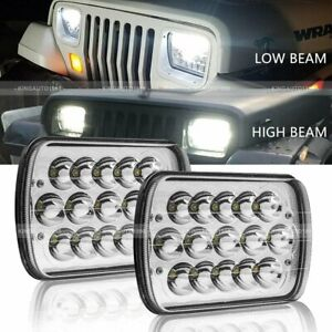 Pair H6054 7x6 5x7 Led Headlights Sealed Beam Hi low For Jeep Wrangler Yj Xj