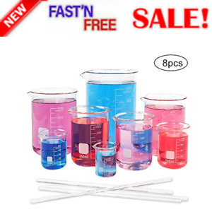 Superlele 8pcs Glass Graduated Beaker Set 25 50 100 200 250 400 500 1000ml