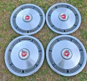 Rough Driver s Set Of 4 Vintage 1974 Oem Ford Mustang 13 Red Center Cap Hubcaps