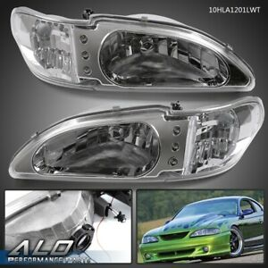 For 1994 1998 Ford Mustang Chrome Housing Clear Lens Headlight Led Fog Lights