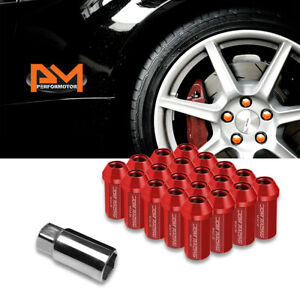 M12x1 5 Red Jdm Closed End Aluminum Hex Wheel Lug Nuts extension 25mmx50mm 20pc