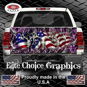 American Buck Camo Skull Pink Truck Tailgate Wrap Vinyl Graphic Decal Wrap