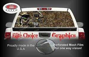 Bow Hunter Reaper Grass Camo Rear Window Graphic Decal Sticker Truck Car Suv