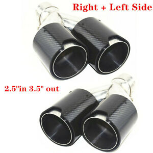 Right Left Side Car Real Carbon Fiber Exhaust Dual Twin End Tips 2 5 in 3 5