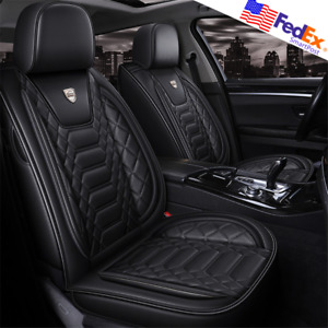 Black Pu Leather 5 Seats Car Seat Cover Interior Cushions Universal Usa For Bmw