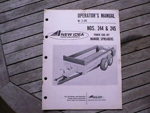 New Idea Farm Equipment 244 245 Power Take Off Manure Spreader Owners Manual