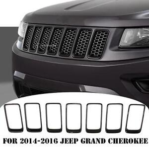Car Front Grille Inserts Clip on Cover Trim Kit For 2014 16 Jeep Grand Cherokee