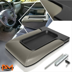 Gray Oe Center Console Lid Repair Kit Arm Rest Cover For 01 07 Silverado sierra