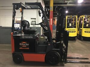 2015 Toyota 4000 Lb Electric Forklift With Side Shift And Triple Mast