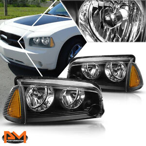 For 06 10 Dodge Charger Headlight Lamps Black Housing Clear Lens Amber Corner