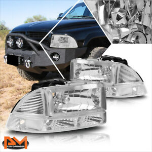 For 97 04 Dodge Dakota durango Headlight lamp Chrome Housing Clear Corner Signal