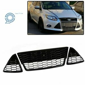 Honeycombed Front Bumper Lower Grille Grills For Ford Focus 2012 2013 2014 Black